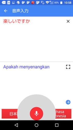 Google 翻訳の画面