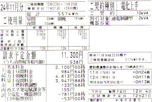 2012年11月分の電気料金明細