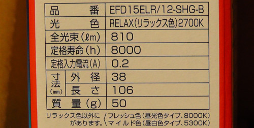 EFD15ELR/12-SHG-Bの仕様