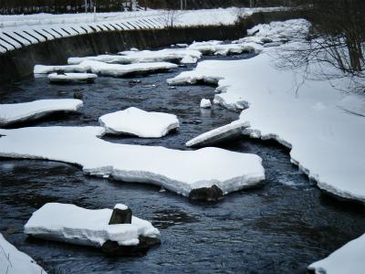 氷が割れて流れている