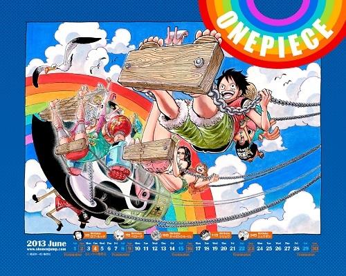 ワンピース 壁紙 6月のカレンダーはONE PIECE 虹とブランコ 70巻発売日6月4日もちゃんと載ってます