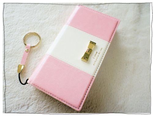iPhoneSE 6s/6 plus XPERIA Z5 ケース 手帳型 リボンオーナメントフェイクレザーケース カードポケット付(NATURAL design)ピンク