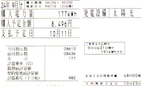 東京電力に売った太陽光発電の余剰電力