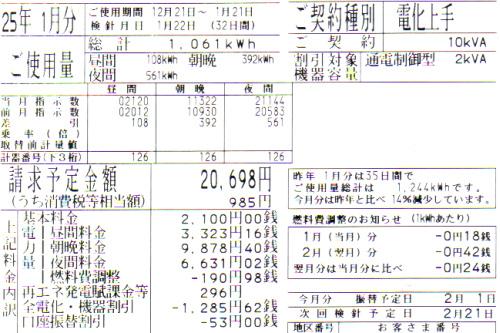 2013年1月分の電気料金明細