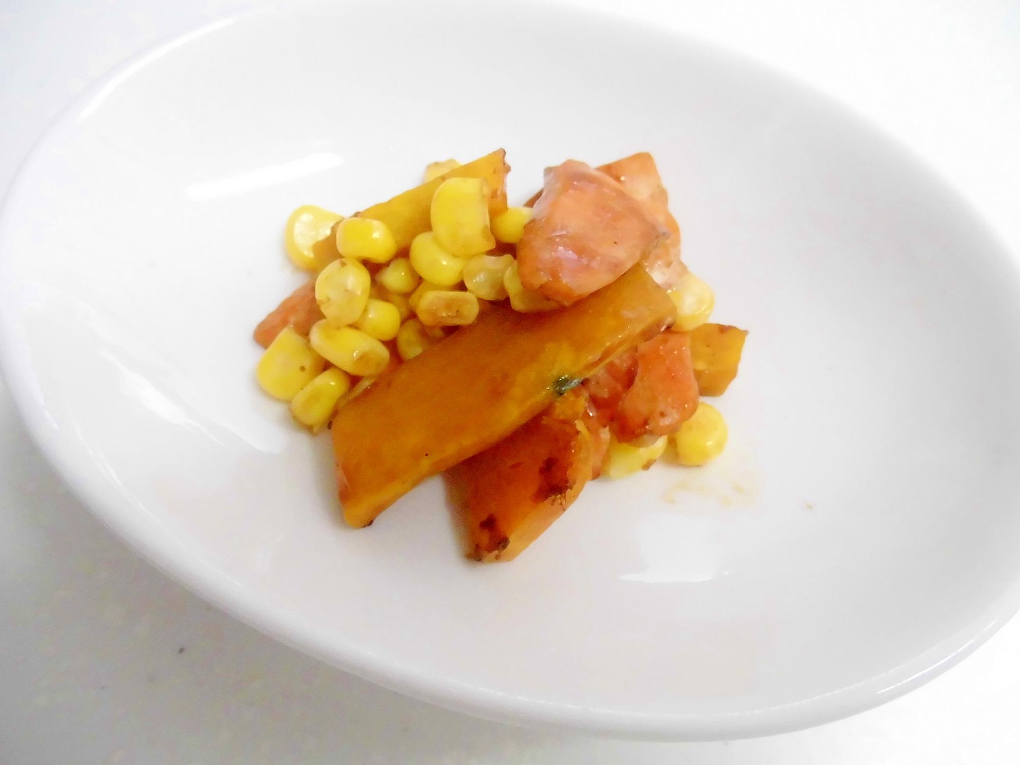 鮭とかぼちゃととうもろこしのバターソース炒め