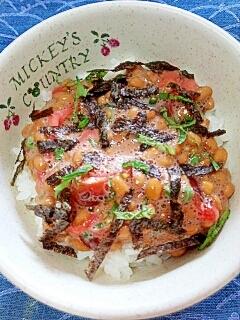 納豆の食べ方-トマト&紅生姜♪