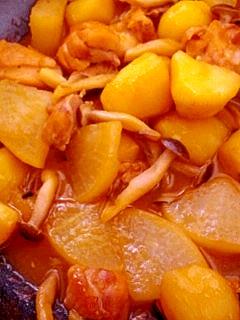 大根×ジャガ芋×しめじ×鶏肉のめんつゆ煮
