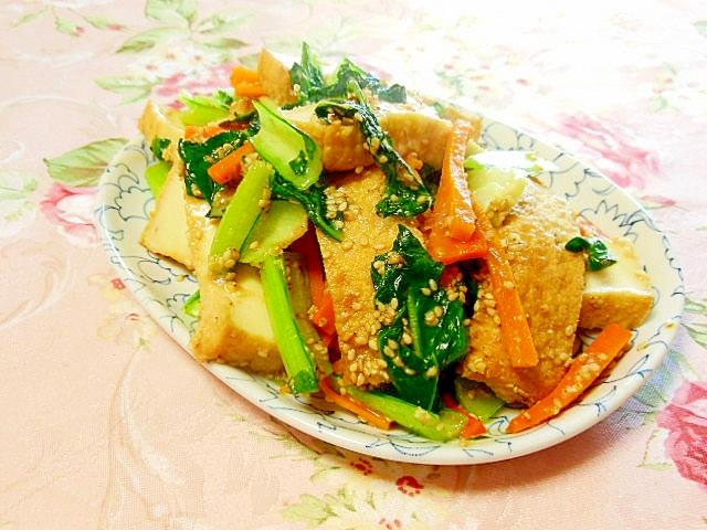 タァツァイと厚揚げ人参の胡桃味噌炒め