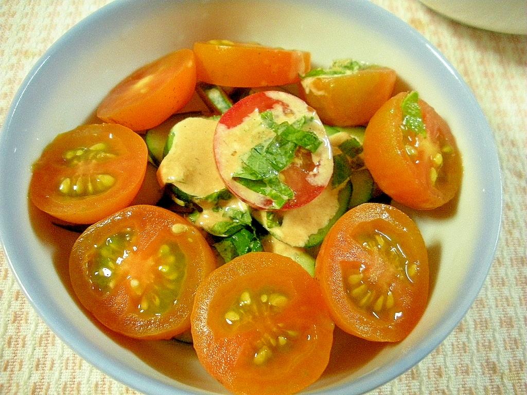 オレンジミニトマトときゅうりの中華マヨケチャサラダ