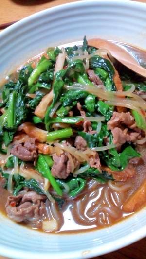 糸コンと牛肉のすき焼き風中華炒め