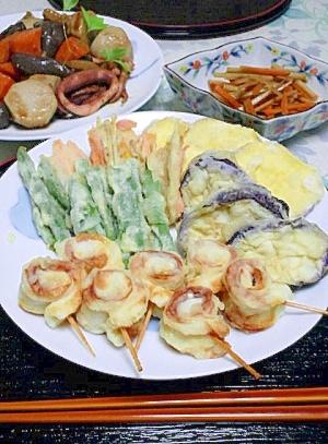 にぎやか♪~野菜とグルグルちくわの天ぷら。