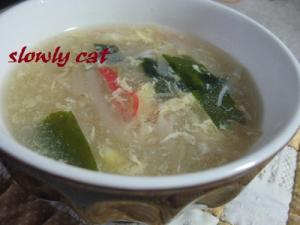 もやしで中華スープ