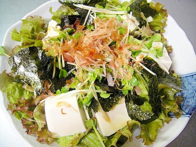 サニーレタスと豆腐、海苔のサラダ