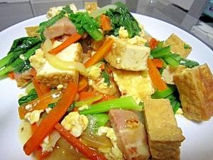 ハムと厚揚げの野菜炒め