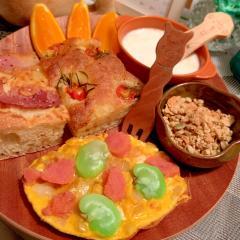 明太子と空豆のオープンオムレツ