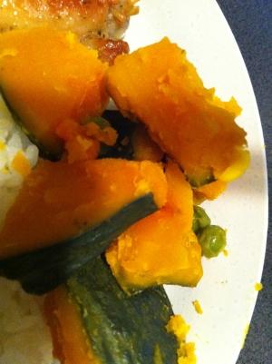 かぼちゃとグリーンピースの煮物