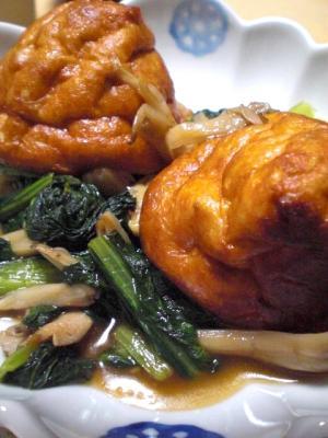 厚揚げと舞茸と小松菜の麺つゆ炒め煮