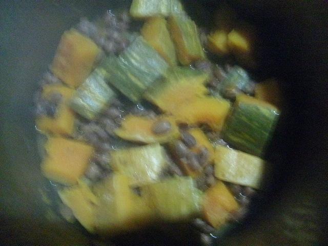 かぼちゃと桜豆の煮物