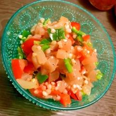 蒟蒻と蕎麦米と彩り野菜のおさかな滋味サラダ