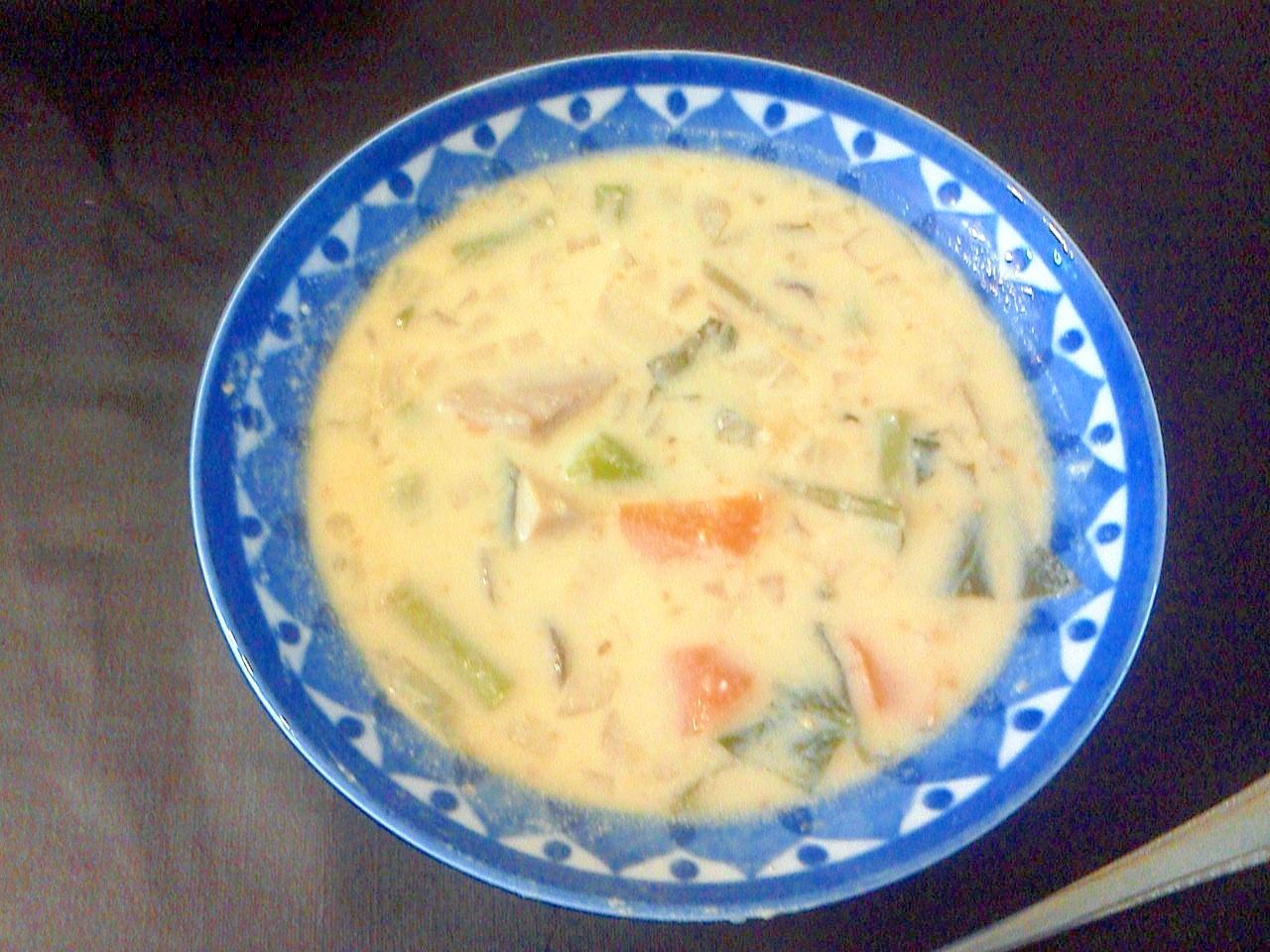 煮物の残り物活用!豆乳味噌チーズスープ