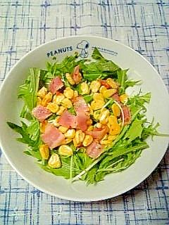 ☆焼きベーコンコーン水菜サラダ☆