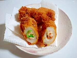 お弁当のおかずにもちくわのつめつめ天ぷら
