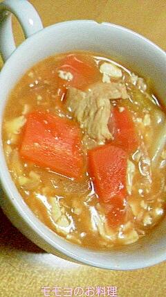 鶏ムネ肉のケチャップスープ