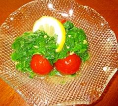 綺麗になる甘酢ミニトマトとモロヘイヤのサラダ