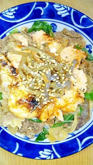 美味!牛鮭ごまきんレタス丼
