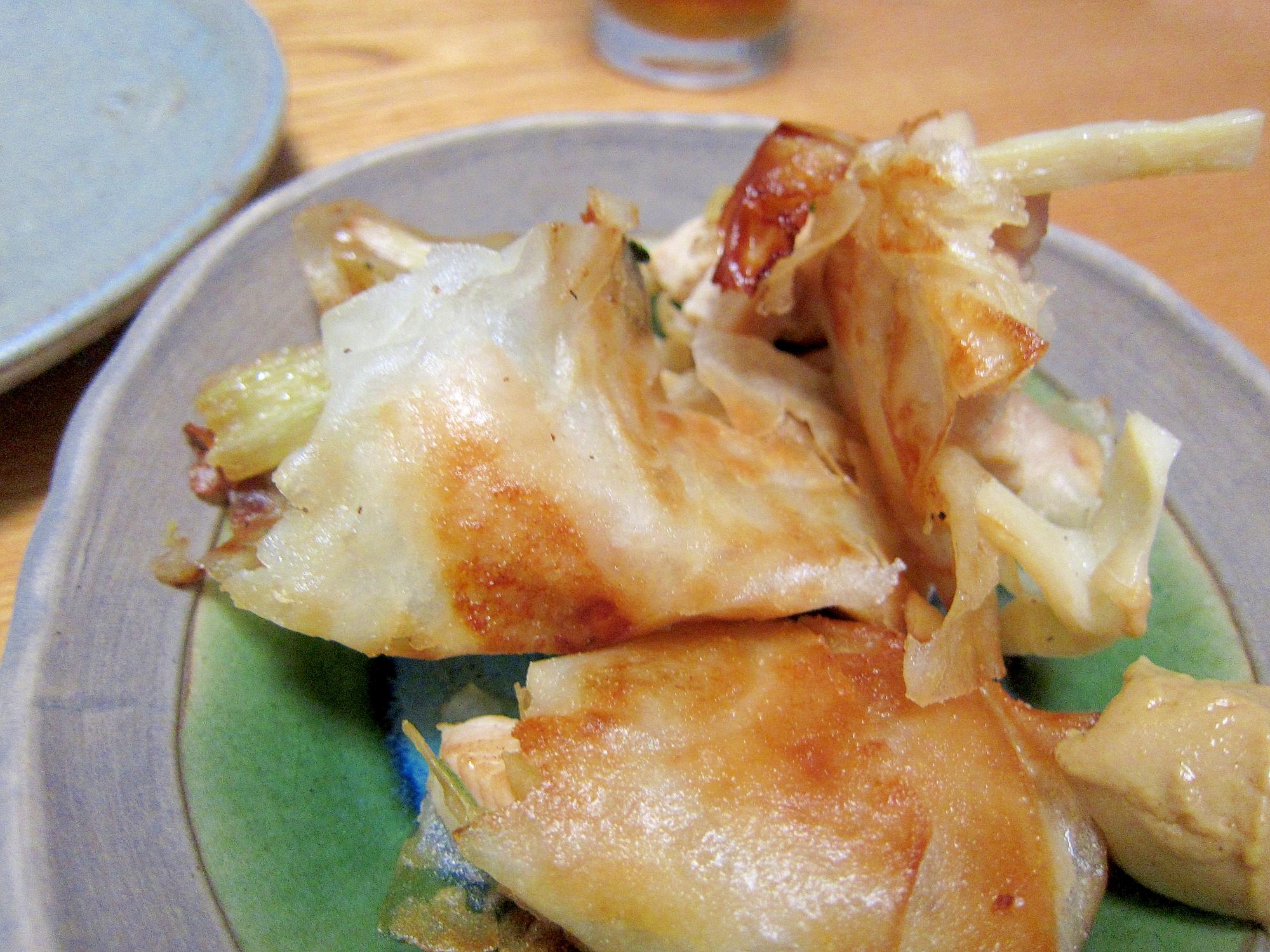 セロリ鶏肉筍葱春巻き