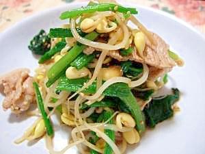 豚肉とほうれん草と豆もやしの山椒じょうゆ