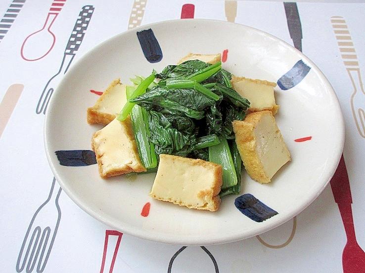 小松菜ともっちり♪厚揚げのオイスターソース炒め