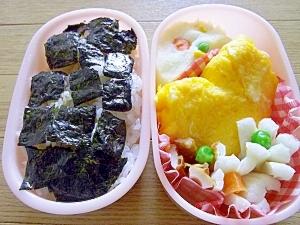 ハートの卵焼きとポテトサラダの海苔弁当
