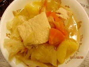 冷凍木綿豆腐入れ野菜スープ