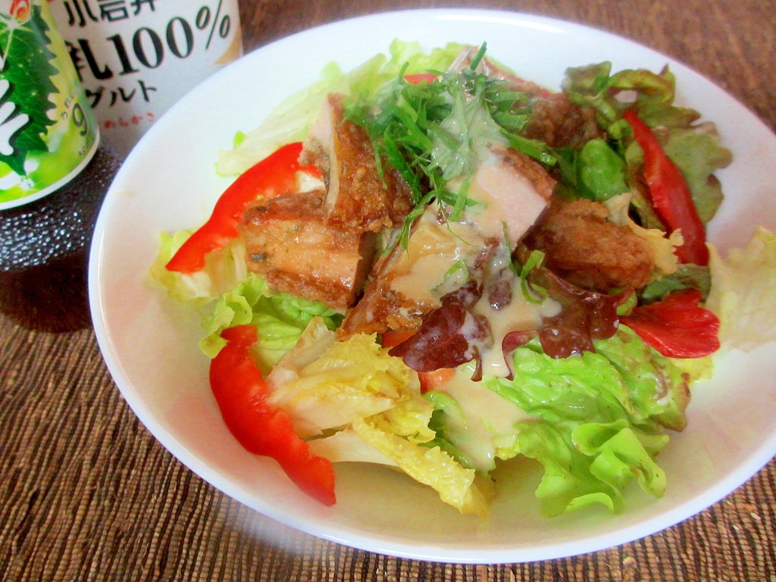 リケン×小岩井★から揚げサラダ丼