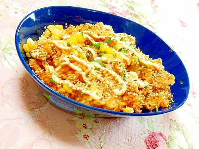 ダシダで作ろキムチと卵&葱コーンのマヨ炒飯