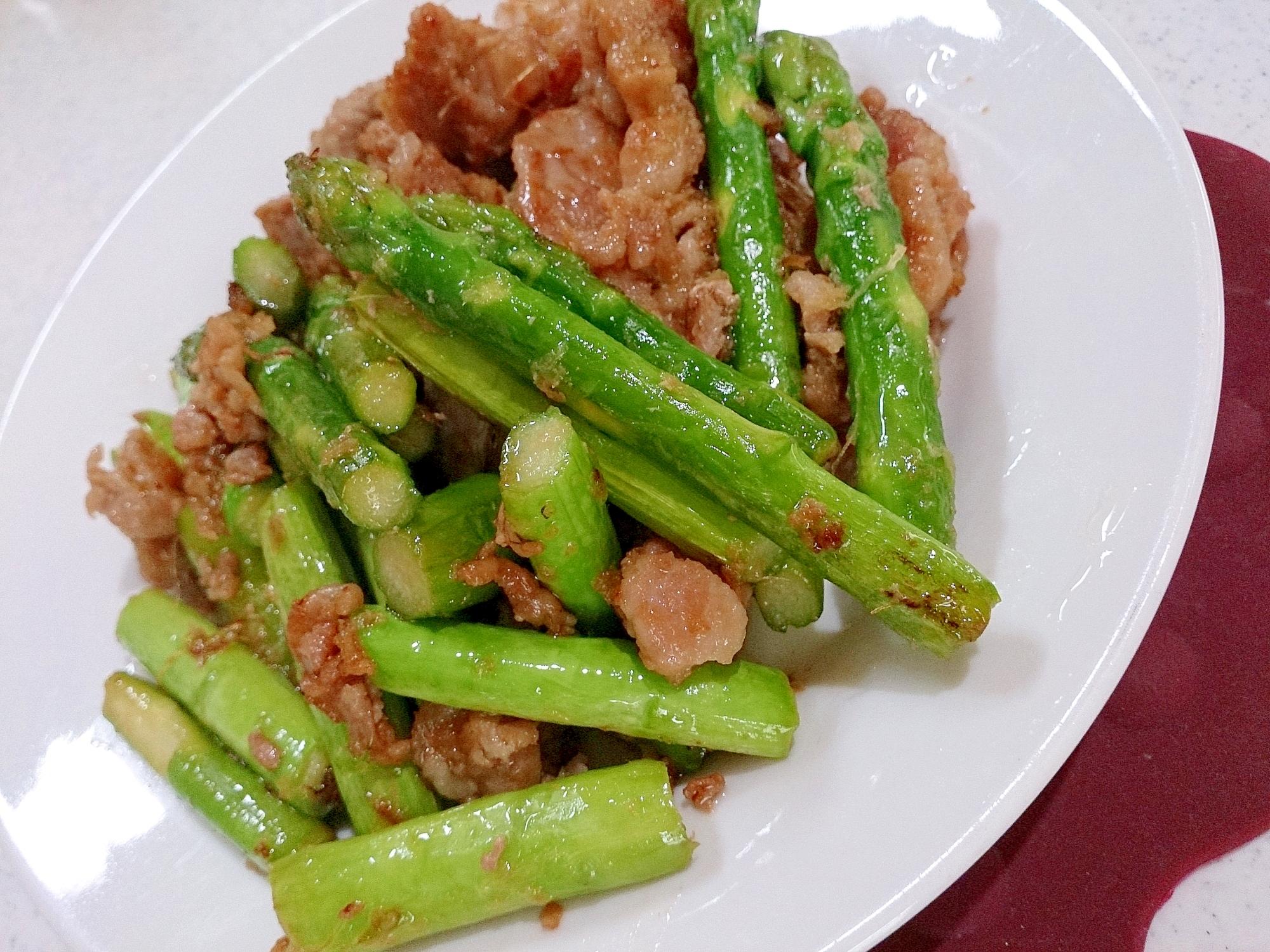 美味しい北海道アスパラガスと豚肉のしょうが焼き