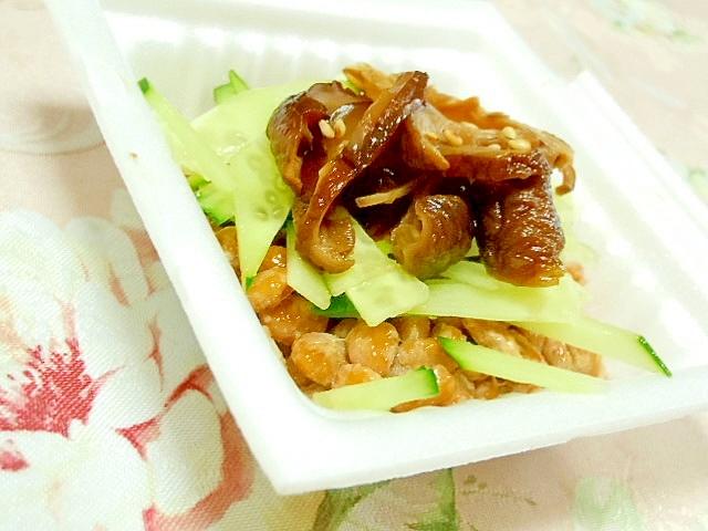 椎茸の含め煮と胡瓜の胡麻ゴマ納豆