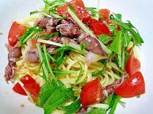 ホタルイカとフルーツトマト、水菜の冷製スパゲティー