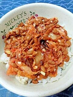 納豆の食べ方-キムチ&切干大根♪
