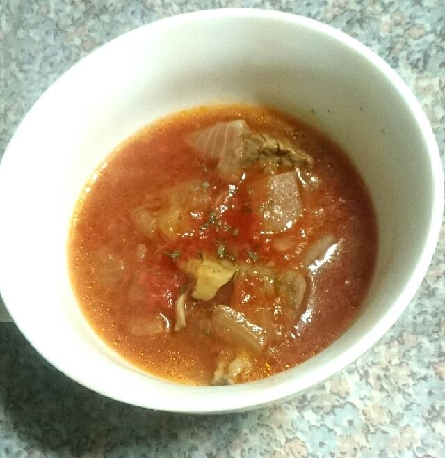 牛肉と舞茸のトマトスープ