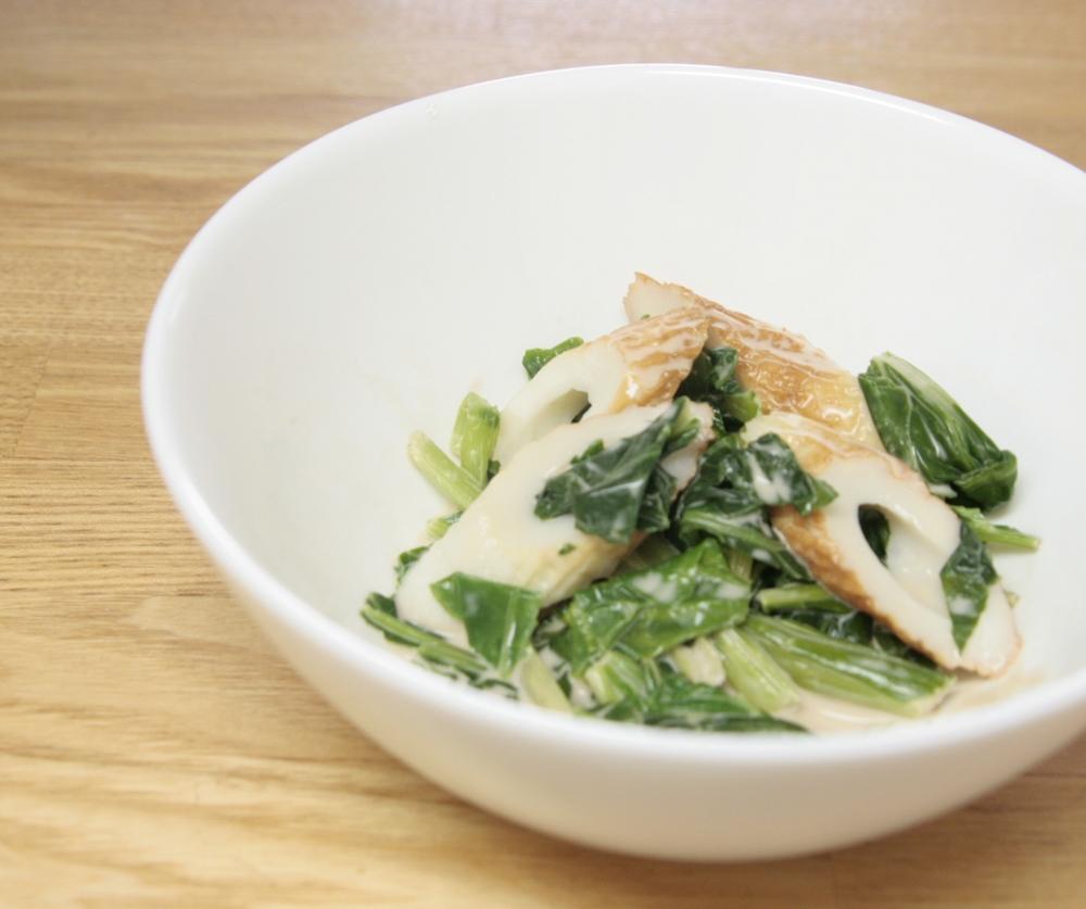 バルサミコの良い香り♪小松菜とちくわのバルマヨ和え