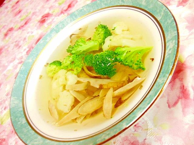 白だし生姜で牛蒡とブロコとカリフラワーのスープ
