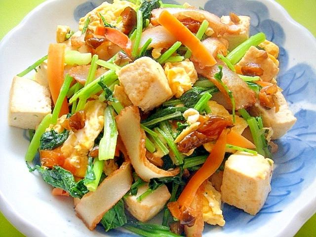 キューちゃん入り☆豆腐とからし菜さつま揚げの炒め物