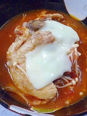 圧力鍋で手羽先キノコスープ.~トマト味
