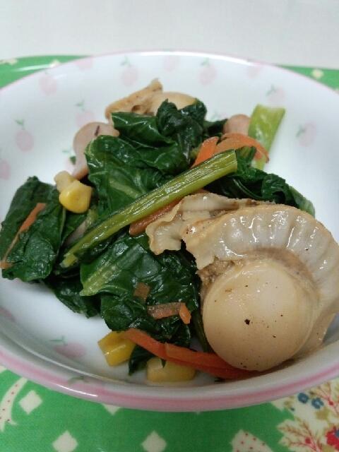 簡単旨い!ほたてと小松菜の中華炒め