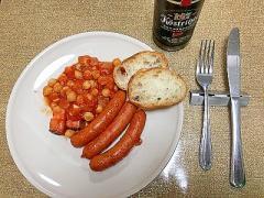 ひよこ豆(ガルバンゾ)とソーセージのトマト煮込み