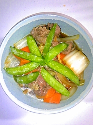 牛肉と白菜のすき焼き風煮込み炒め