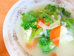 小松菜とカリフラワーの和風スープ