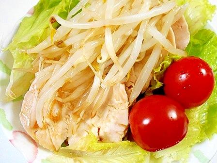 鶏ハムともやしのポン酢サラダ